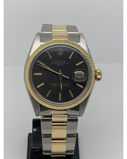 Rolex Oyster Perpetual Date 34MM STEEL GOLD BLACK DIAL