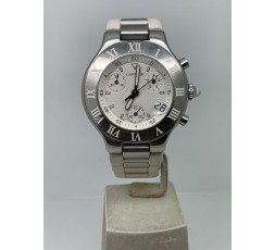 Cartier 21 Chronoscaph 38MM WHITE DIAL VERY GOOD CONDITION