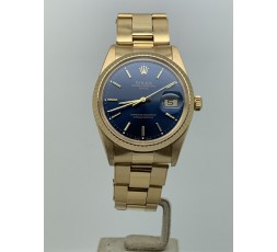 Rolex Date 34mm Full Gold 18k Very Rare Blue Dial Year 1989 Like New