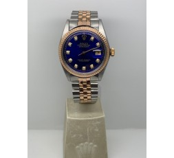 Rolex Datejust 36mm Automatic Rose Gold Steel Blue Diamond Dial